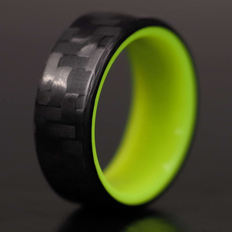 The Pineapple - Twill Carbon Fiber Ring + Yellow Chroma Glow Liner