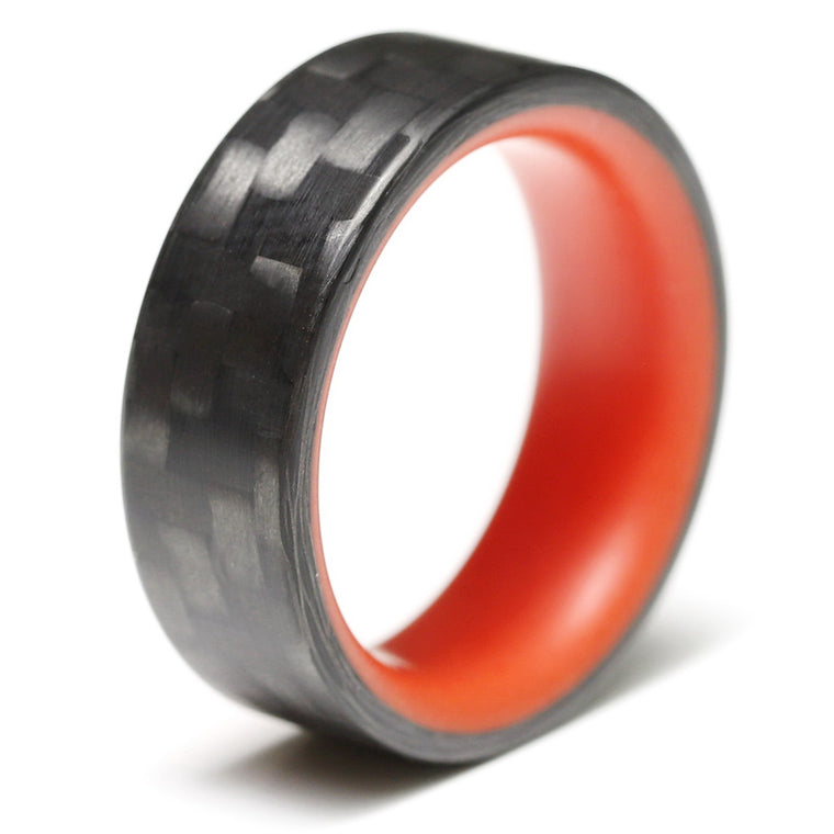 The Red Racer - Twill Carbon Fiber Ring + Red Chroma Glow Liner