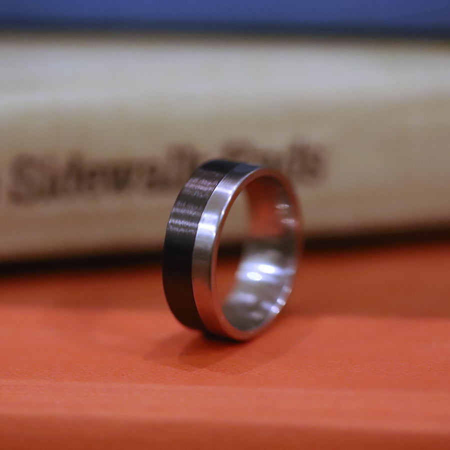 A pure titanium and carbon fiber wedding ring