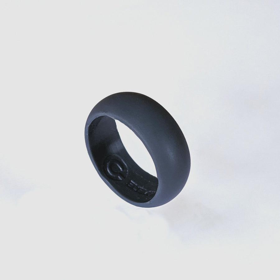 A slate gray silicone wedding ring