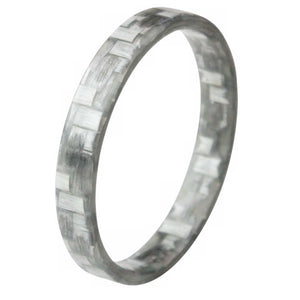 A silver stackable glass ring