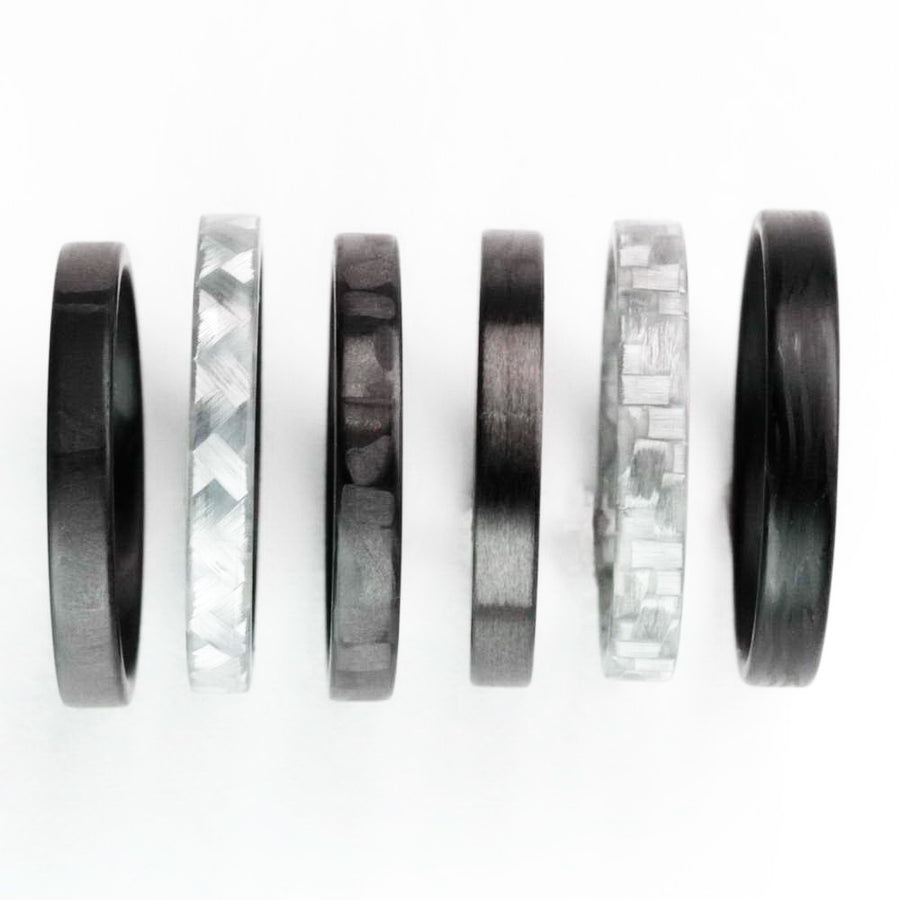 A collection of carbon fiber stackable rings