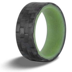 Green carbon fiber glow ring with glowing green liner