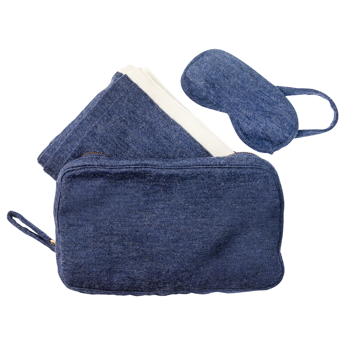 Merino Wool Travel Set in Navy | Eye Cover and Blanket | Skylark+Owl Linen Co.