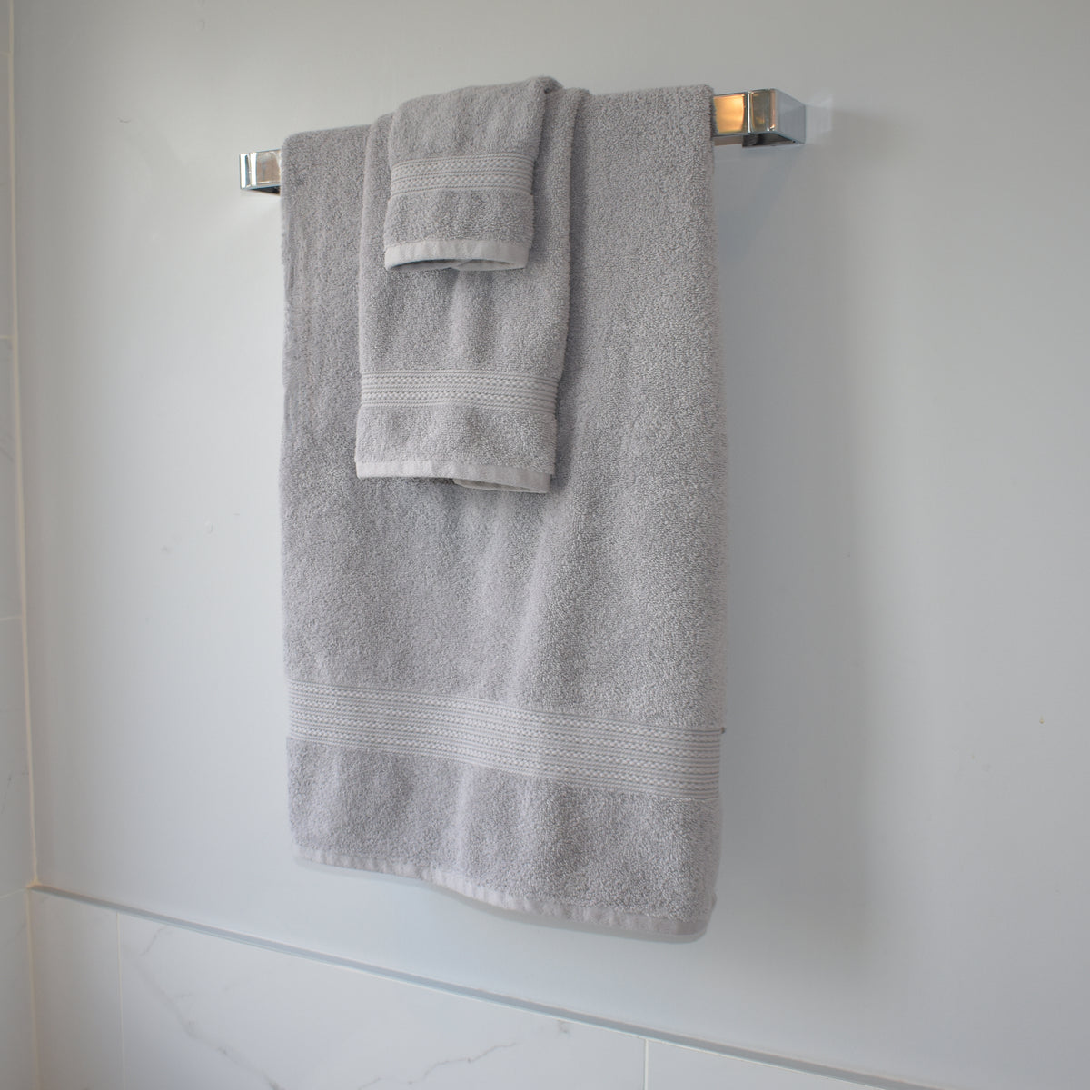 Braid Turkish Towels in Marble Grey Hanging on Towel Rack