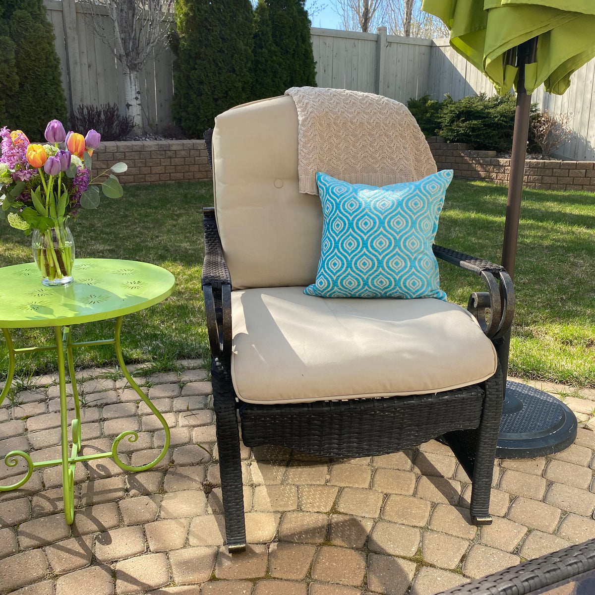 Decorative pillow cover outside patio set