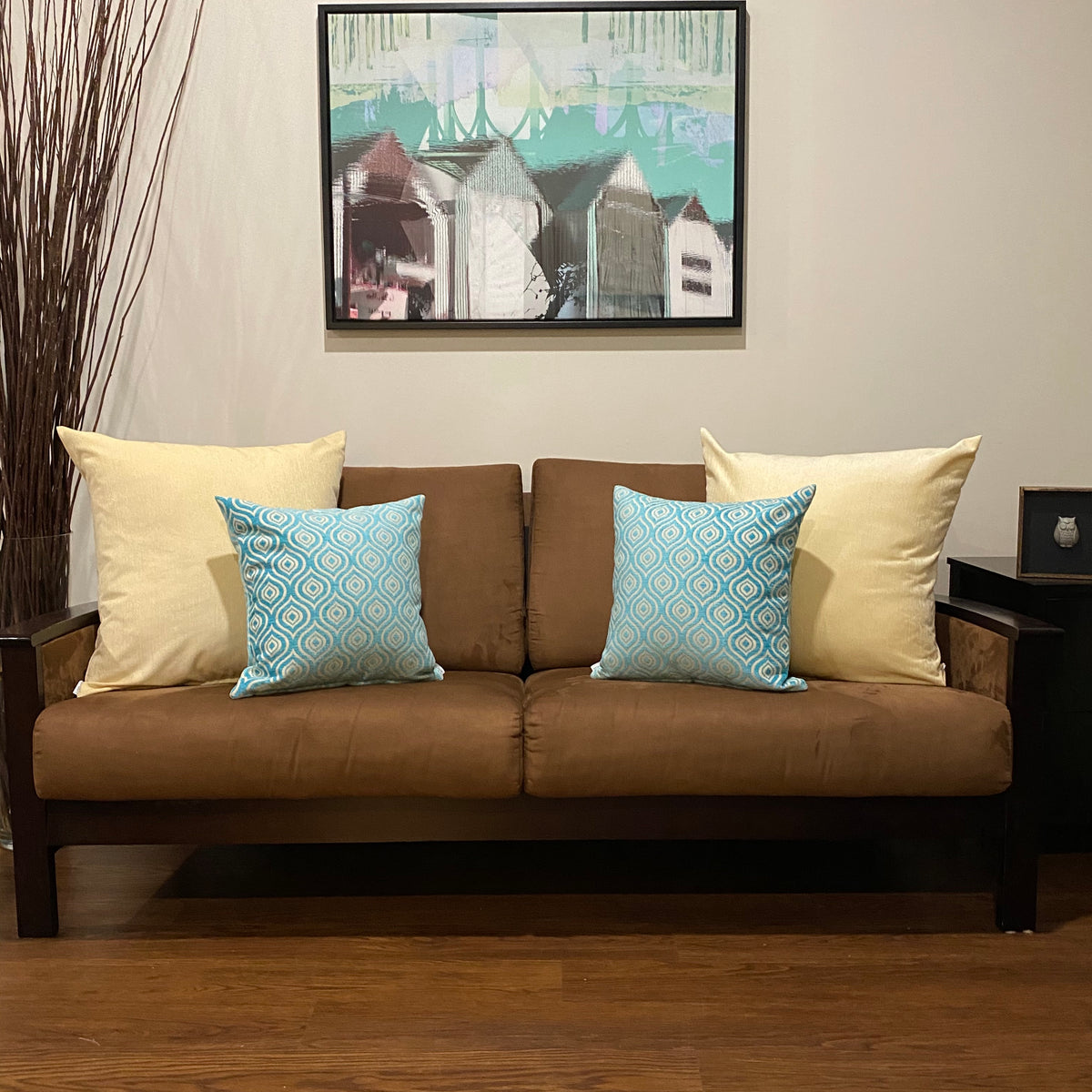 Brown Couch Decorative Pillows Teal Yellow