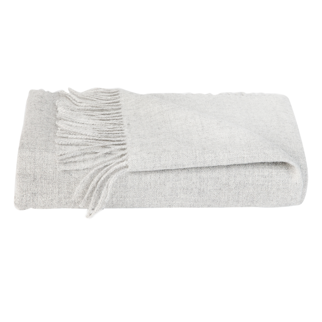 Alpaca Wool Throw Blanket Grey