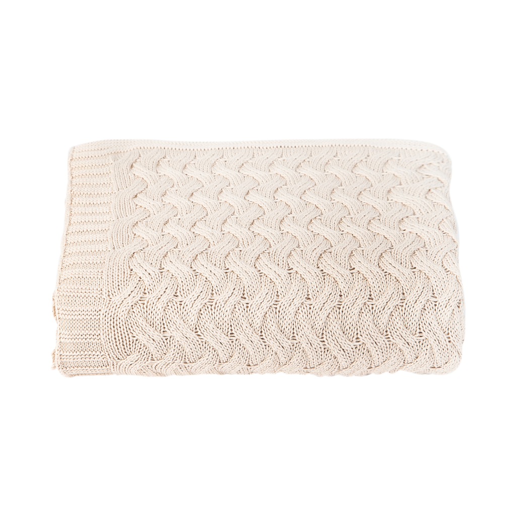 Cable Knit Throw Blanket Cream