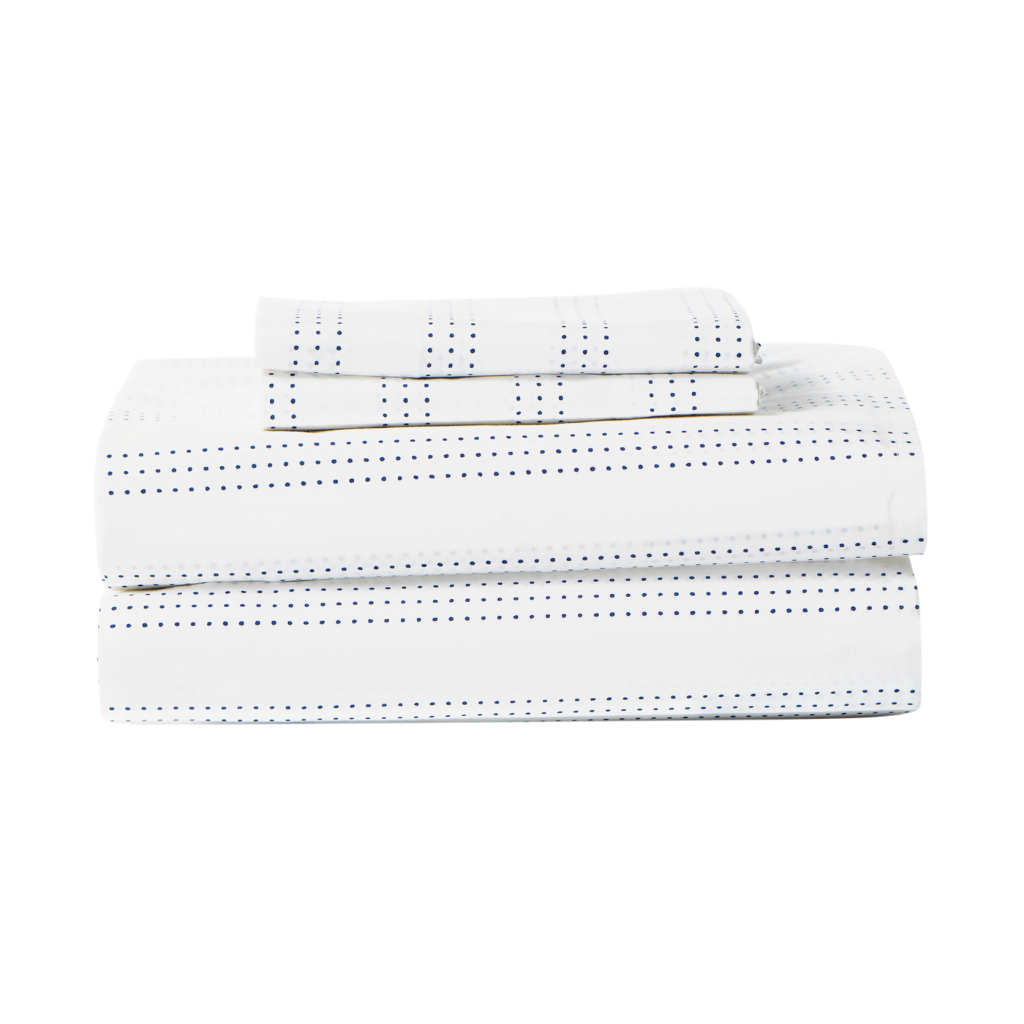 Percale 100% Egyptian Cotton Sheet Set Navy Dots