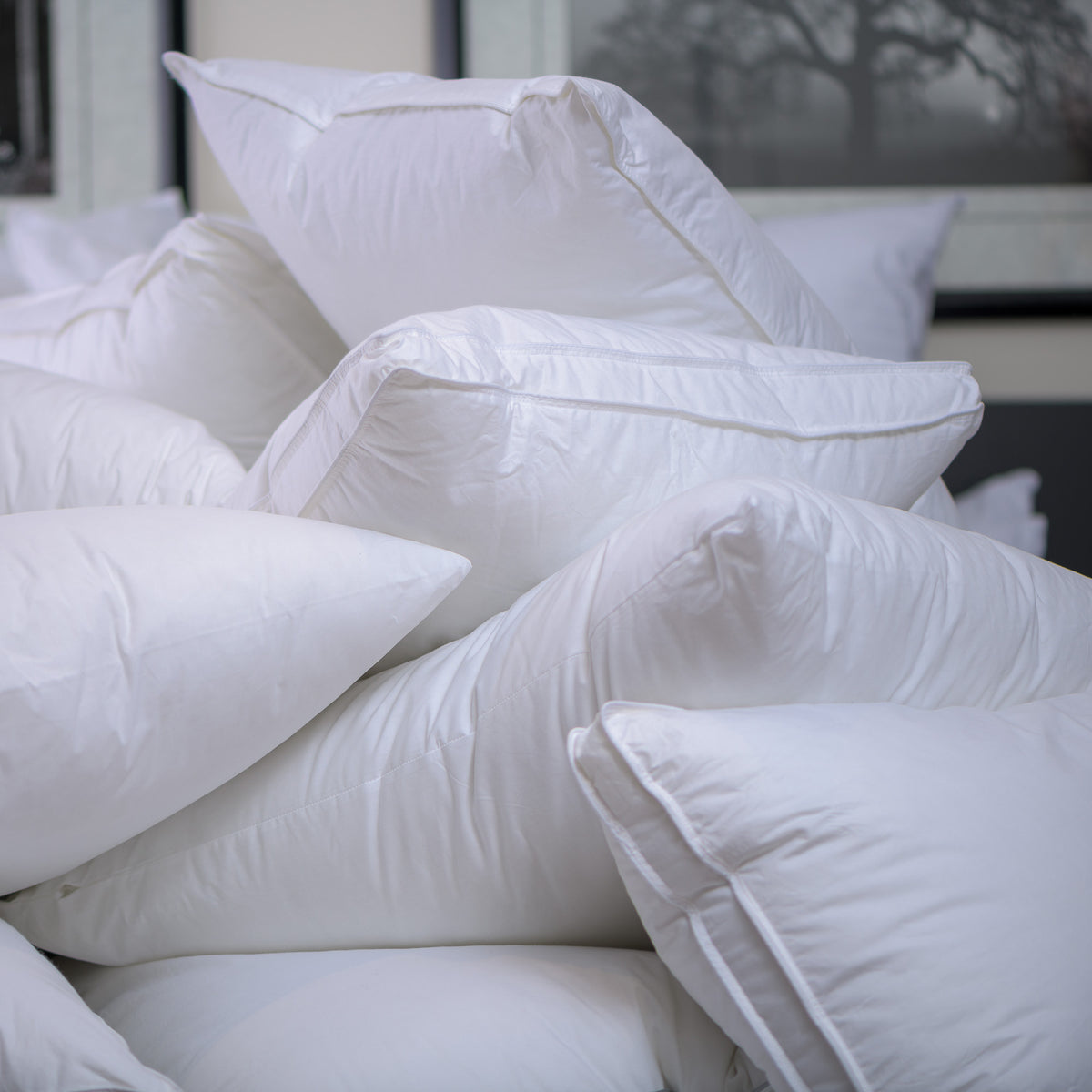 Pile White Hotel Pillows
