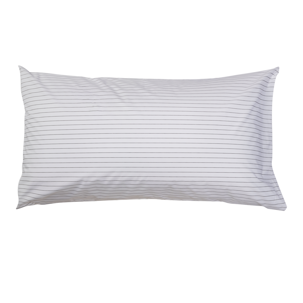 Essential Collection Percale Pillowcases in Charcoal Stripe | Skylark+Owl Linen Co.