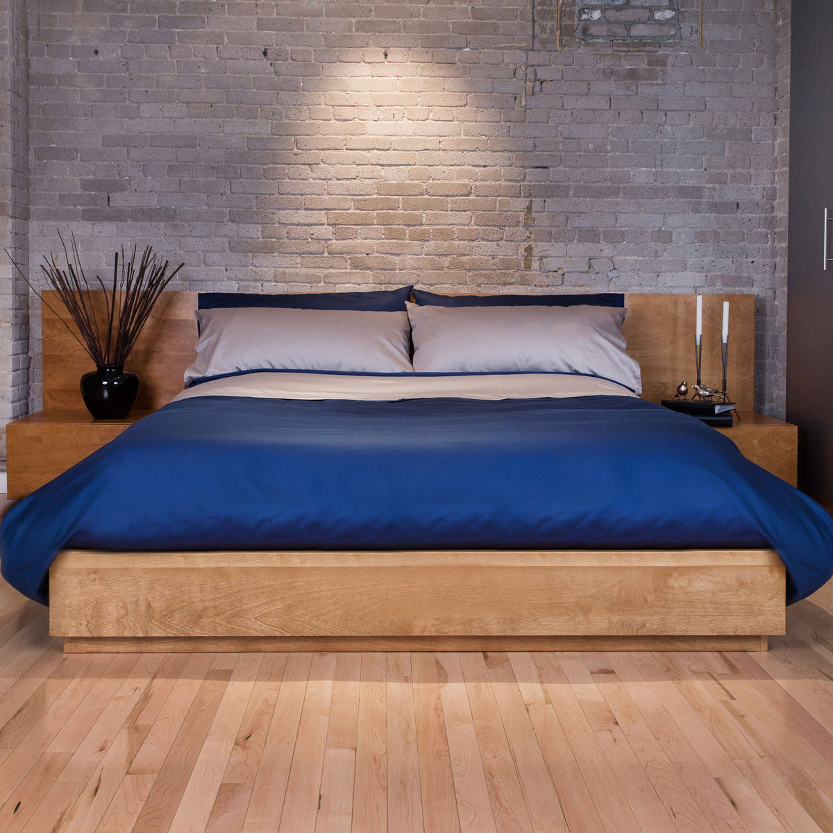 Sateen Bed Sheets Navy Blue Bed Brick Wall | Skylark+Owl Linen Co. | Skylark+Owl Linen Co.