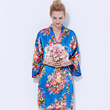 Satin Floral Blossom Robe Royal Blue
