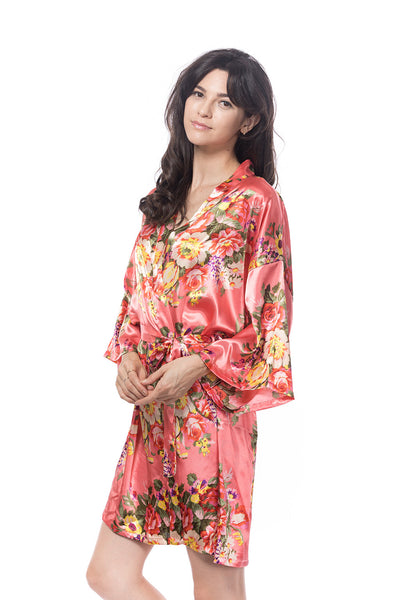 Satin Floral Blossom Robe Coral
