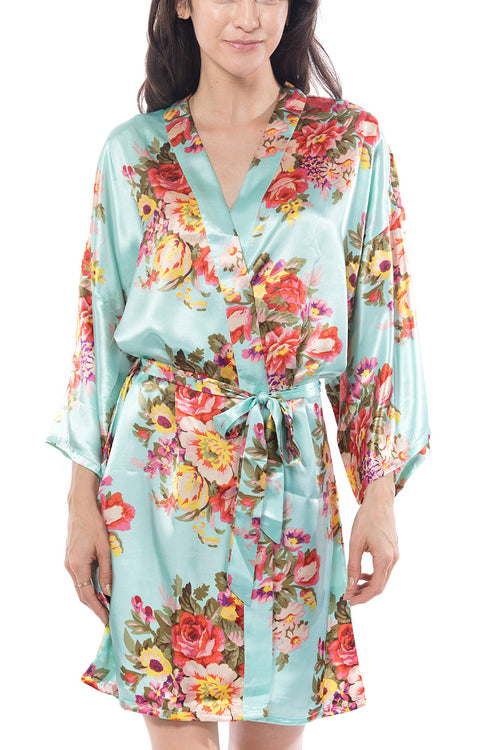 Satin Floral Blossom Robe Mint