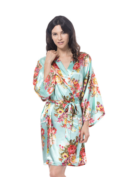 Satin Floral Robe Mint