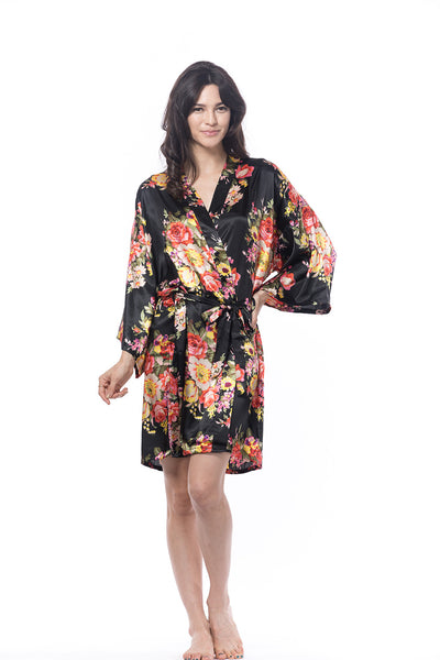 Satin Floral Robe Black