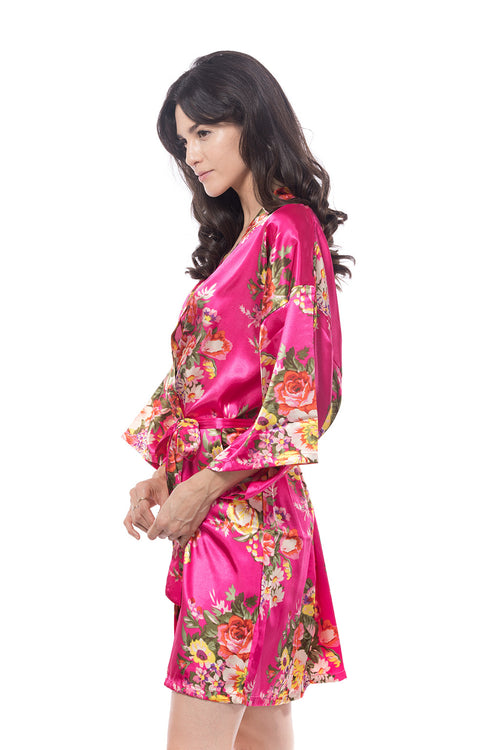 Satin Floral Blossom Robe Hot Pink