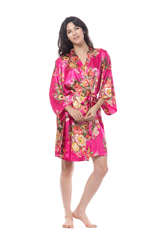 Hot Pink Satin Floral Blossom Robe