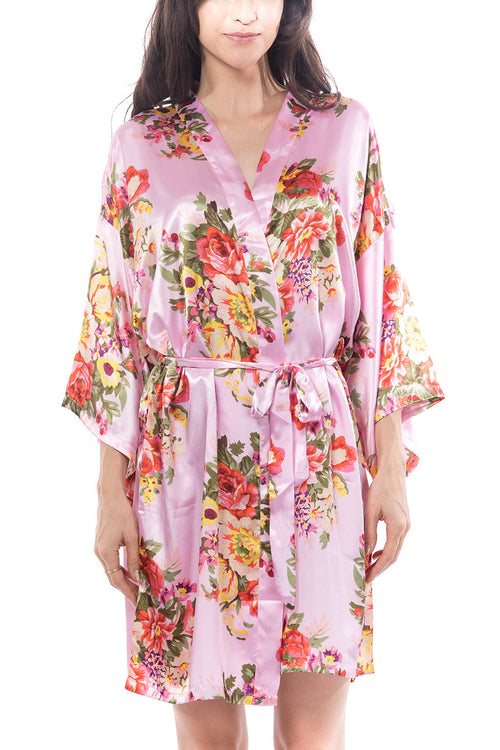 Satin Floral Blossom Robe Pink