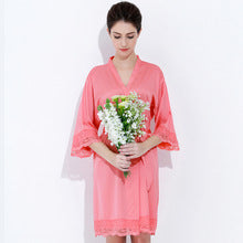 Satin Solid Lace Trim Robe