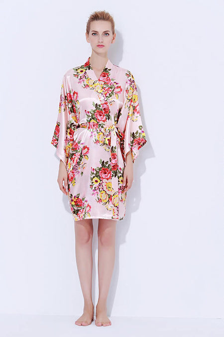 Satin Floral Blossom Robe Black
