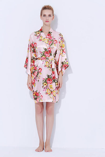 Satin Floral Blossom Robe Blush