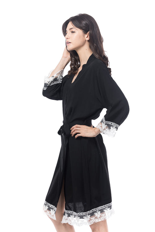 Cotton lace trim robe black