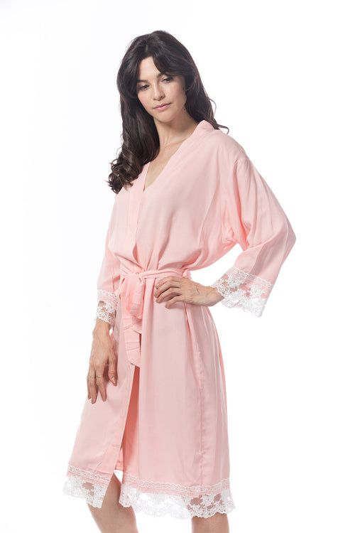 Cotton lace robe blush