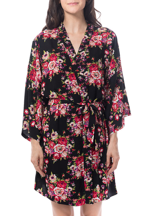 Black cotton floral robe