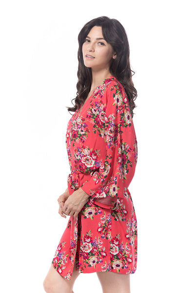 Cotton Floral Robe Coral