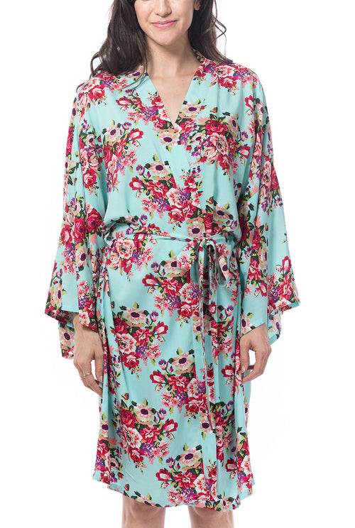Light Blue Cotton Floral Blossom Robe