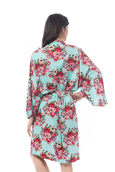 Cotton Floral Blossom Robe Light Blue