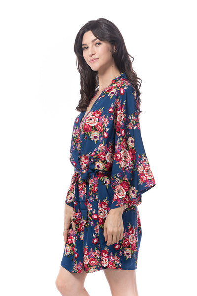 Cotton Floral Robe Navy