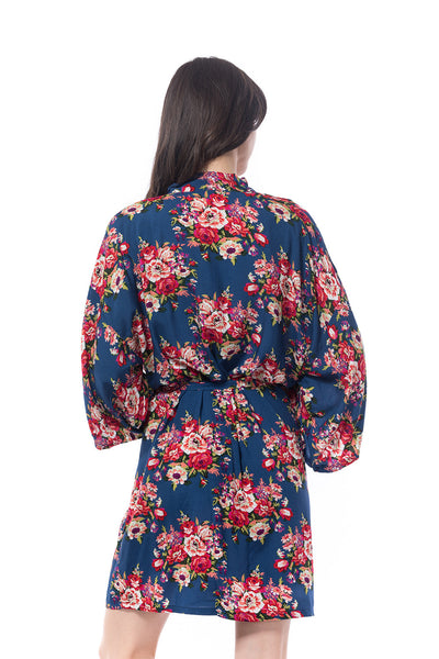 Cotton Floral Blossom Robe Navy