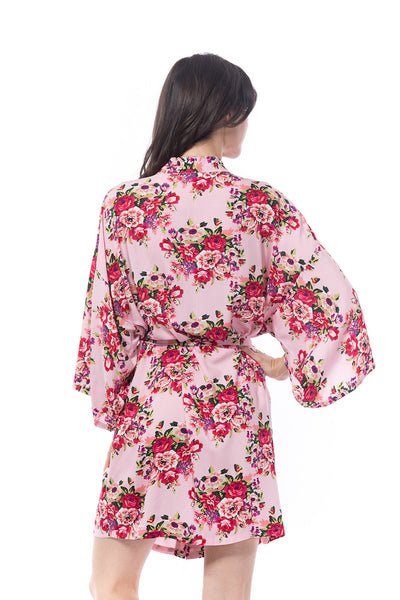 Pink Cotton Floral Robe