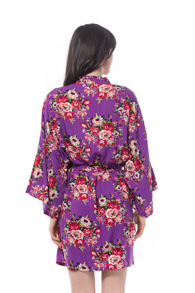Cotton Floral Blossom Robe Purple