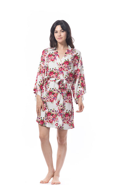 Cotton floral Robe white