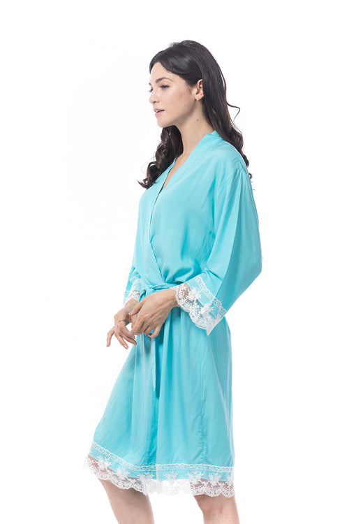 Cotton Lace Trim Robe Aqua
