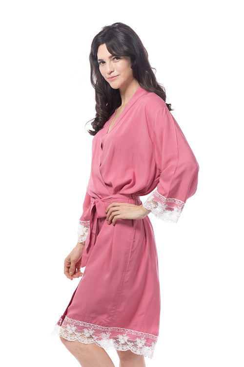 Cotton lace trim robe dusky rose