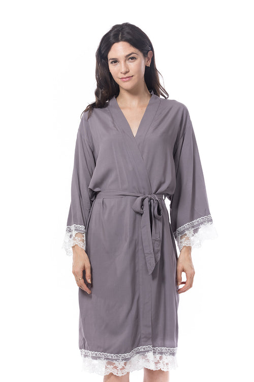 Cotton Lace Trim Robe Grey