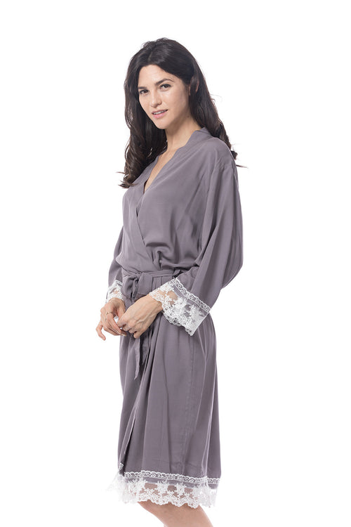 Grey Cotton Lace Trim Robe