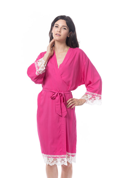 Cotton Lace Trim Robe Hot Pink
