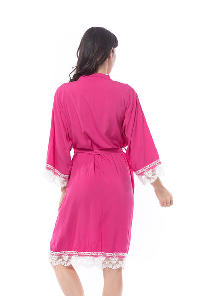 Hot pink Cotton Lace Trim Robe