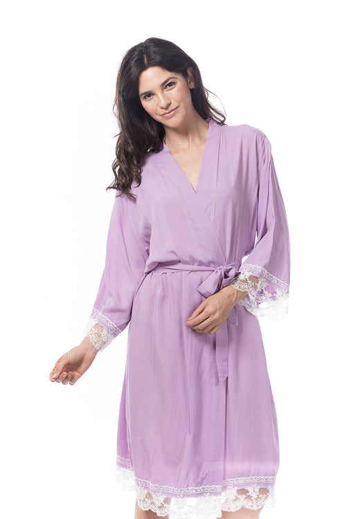 Cotton Lace Trim Robe lavender
