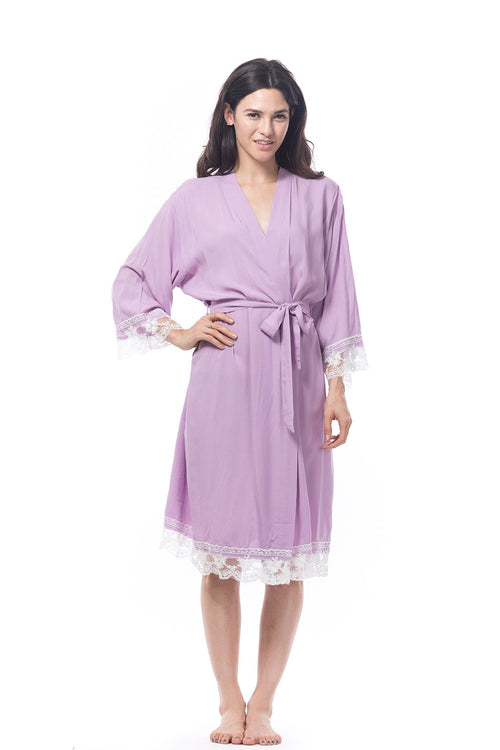 Lavender Cotton Lace Trim Robe