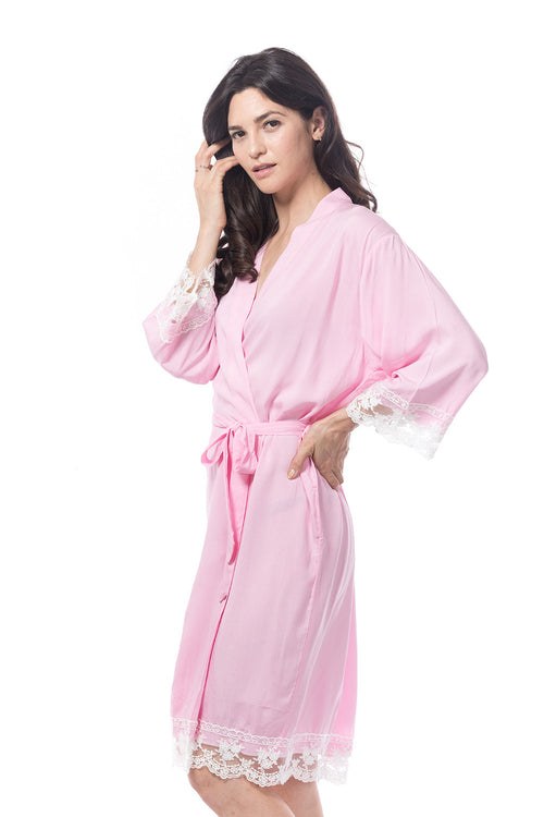 Cotton Lace Trim Robe Pink