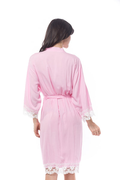 Cotton Lace Robe Pink