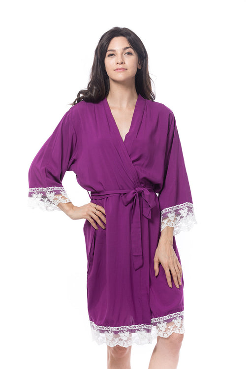 Cotton Lace Trim Robe Purple